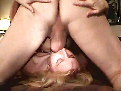 Mature blonde fucking in front of the camera.