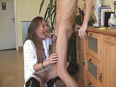 European Milf gets a cock in her throat.