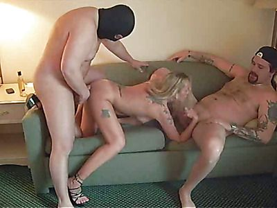 Mature blonde fucks her husband and a stranger.