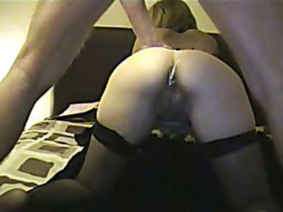 Sexy black nightie turns on lover