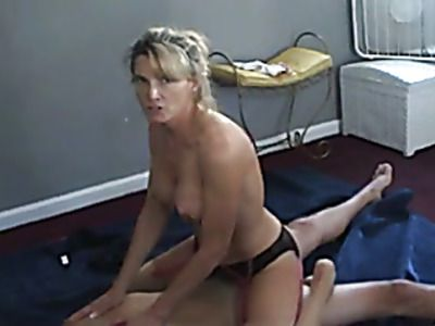 Busty middle aged blonde riding hard dick