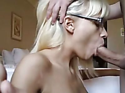 Busty blonde gets her face caked in cum