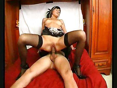 Asian brunette gets her holes crammed full.