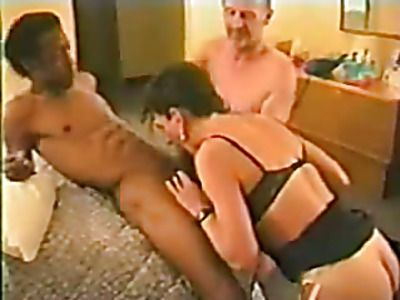 Husband shares his wife with a black cock.