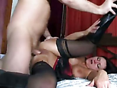 Busty babe sucks cock, then gets pussy fucked.