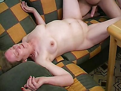 Mature slut get a young cock in her shaved pussy
