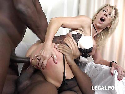 Double anal interracial action with mature Marina Beaulieu