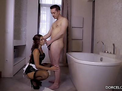 Clea Gaultier - French maid handjob and blowjob